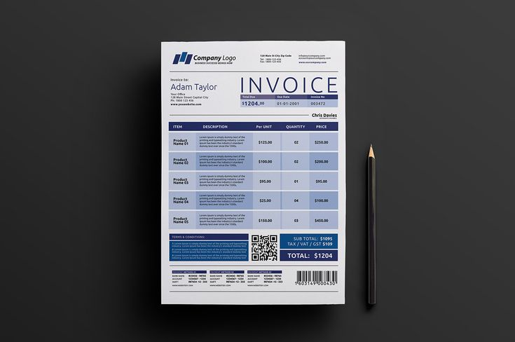 This template design captures a very corporate feel, with a boxy tabled layout for a variety of information. There's space for your logo, address, invoice details, payment methods, barcodes, QR codes, client details and a complete breakdown of the services provided. In short, it features everything an invoice template needs.
