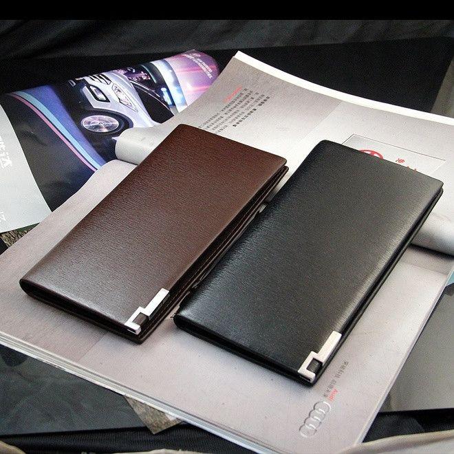 2015 Men Genuine Leather Wallet Man Purse Business Card Holder Iron Edge New Luxury Fashion