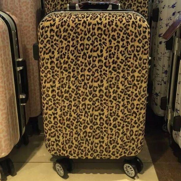 138.57$  Buy now - http://ali799.worldwells.pw/go.php?t=32392102544 - 2016 New maletas men Leopard Print travel luggage bags women suitcase universal wheels trolley rolling bag lock Mute 20 24 138.57$
