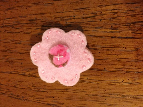 Pink Felt Flower Hair Clip Girls Dolls by littleshopoffelt on Etsy