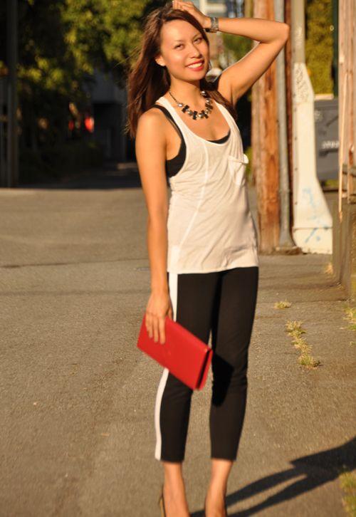 Tuxedo Stripe Pants from @ARITZIA & red YSL Belle du Jour clutch - www.alison-elle.com #myaritzia