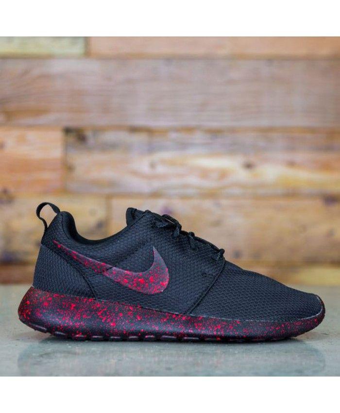 Nike Roshe Run Custom Triple Black Red Paint Speckle Shoes