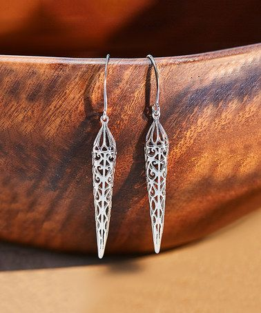 Look at this #zulilyfind! Sterling Silver Filigree Spike Drop Earrings #zulilyfinds