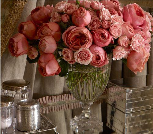 David Austin Roses: Pink Flowers, Ralph Lauren, Glasses Vase, Color, Ralphlauren, Fresh Flowers, Floral Arrangements, Pink Rose, Modern Interiors
