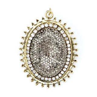 Jewelry Making Pendant: Large Gold Oval Pendant with Silver Pave Center
