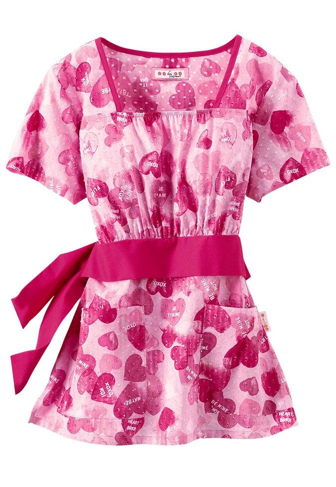 Koi Audrey Be Mine empire waist print scrub top. - Scrubs and Beyond #scrubs #uniforms #nurse