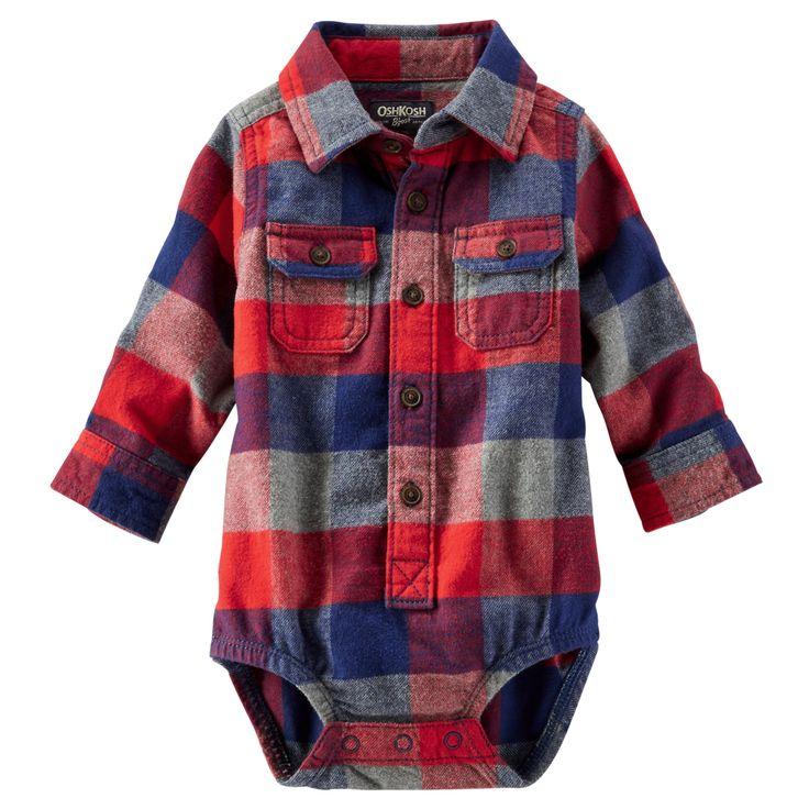 Baby Boy 2-Pocket Flannel Bodysuit | OshKosh.com