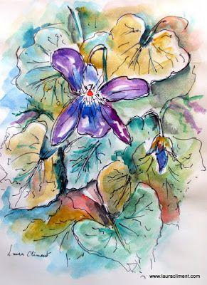 Violets.  (Watercolor)