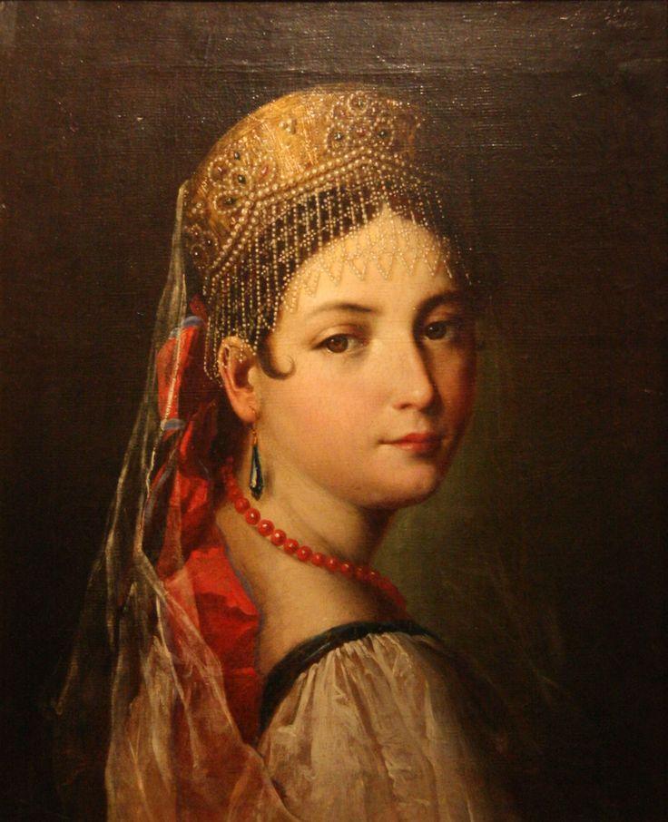 Девушка в русском наряде. Мауро Гандольфи. 1820 год.