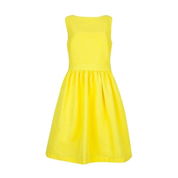 Ted Baker JULETEE - Bow detail dress (1.000 BRL) ❤ liked on Polyvore featuring dresses, vestidos, ted baker, brght yellow, yellow sleeveless dress, yellow dress, bow dress and sleeveless dress