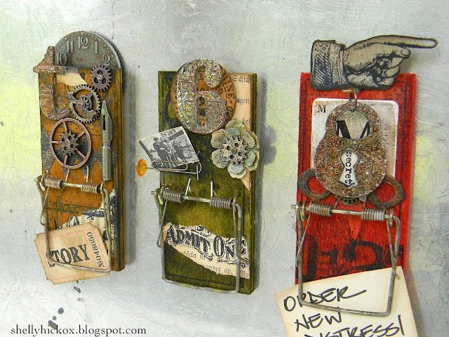 How amazing are these - mouse traps altered into note clips - Great job Shelly!!! More pics in the link!
