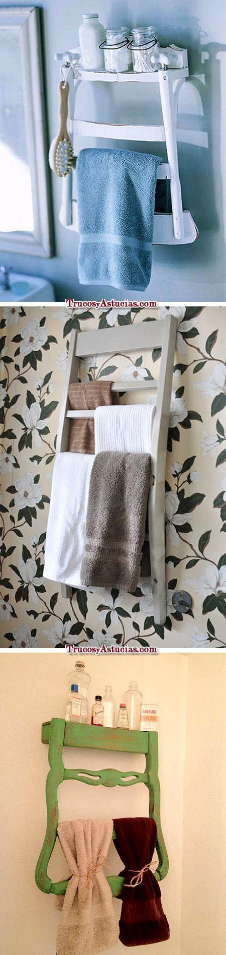 #toalleros #originales hechos con #sillas #recicladas y #reutiliadas / #original #towel #shelves made with #repurposed #chairs. Más objetos hechos con sillas recicladas / More stuff made with #upcycled chairs: http://trucosyastucias.com/astucias/reciclar-sillas #upcycle #reciclar #DIY #upcycling #decoracion #decoration #tips #trucos #ideas #bricolaje #home #casa #estanteria #shelf #crafts #manualidades #wall #pared #ideas #wood #madera #bathroom #toilet #baño