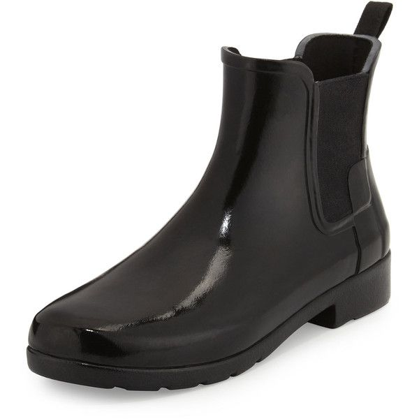 Hunter Boot Original Refined Gloss Chelsea Rain Boot (1470 MAD) ❤ liked on Polyvore featuring shoes, boots, ankle boots, black, pull on boots, black boots, wellies boots, shiny black boots and black rain boots