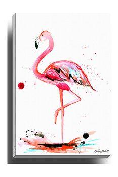 Bashian Pink Flamingo Wall Art
