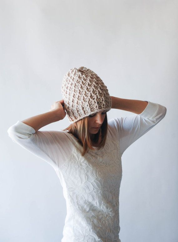 Slouchy Hat Textured Winter Hat / THE HOLOCENE / Linen. By Ozetta via Etsy