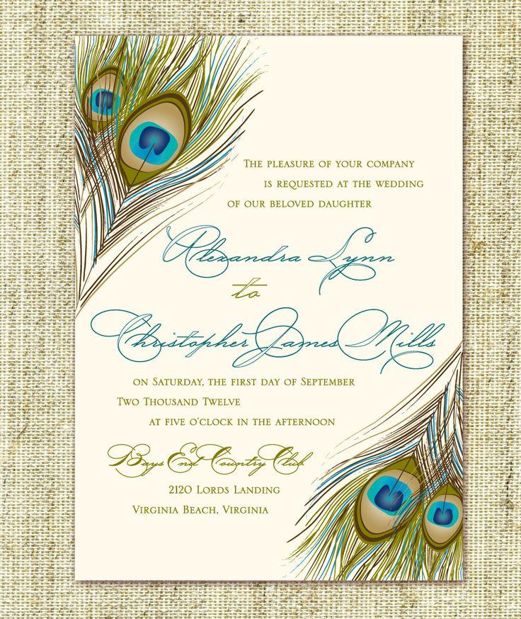 The 25 best Peacock wedding invitations ideas on Pinterest