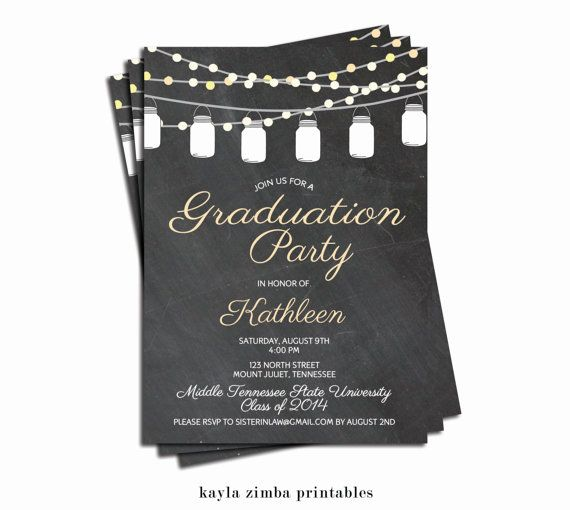 Chalkboard Mason Jar Graduation Invitation Printable, Backyard Graduation Invite, Modern Teen Grad Announcement, High School, College