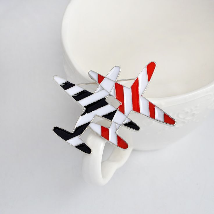New Fashion Airplane Collar Multi-designs Striped double aircraft Brooch Pins Women Gift Men Jewelry Aircraft Cartoon Plane #Affiliate