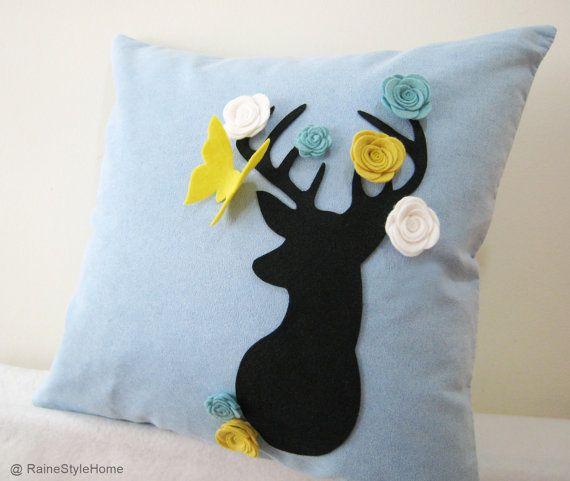 Secret Garden. Deer Dreaming Of Spring Soft Blue Pillow Cover. Decorative Whimsical Cushion