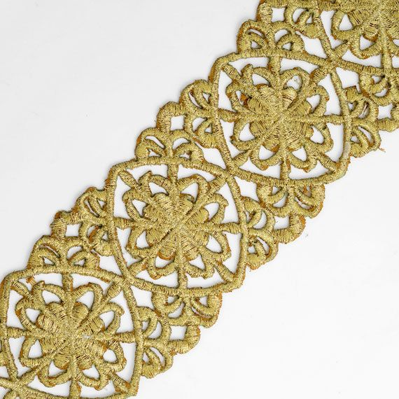 Iron on Metallic GOLD and SILVER Lace Trim for Bridal Costume