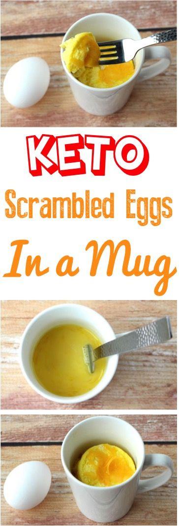 Keto Breakfast Recipes on the go! This Easy Ketogenic Scrambled Eggs in a Mug Recipe is so yummy!