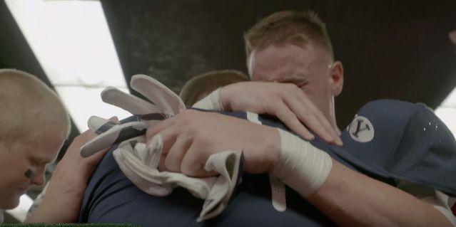 VIDEO: Mathews and Hill's touching exchange following the BYU vs. Nebraska game #BYU #BYUfootball