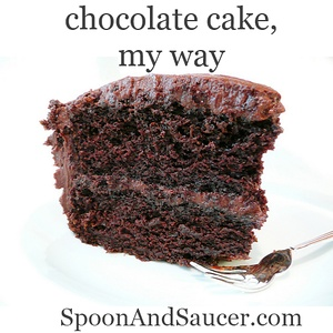 Chocolate Cake, My Way: Deep, dark and moist chocolate cake. Frosting is super easy!