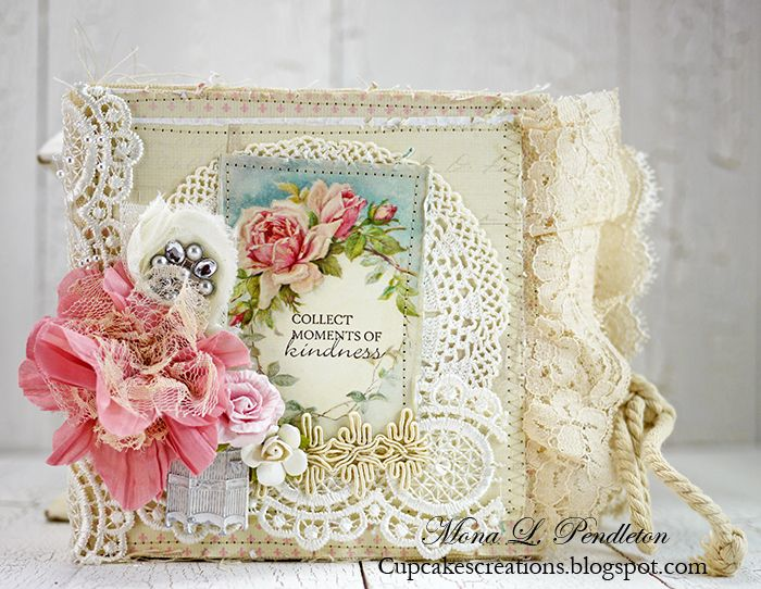 A shabby mini album made by Mona featuring the Paris Flea Market collection. More images in the blog!