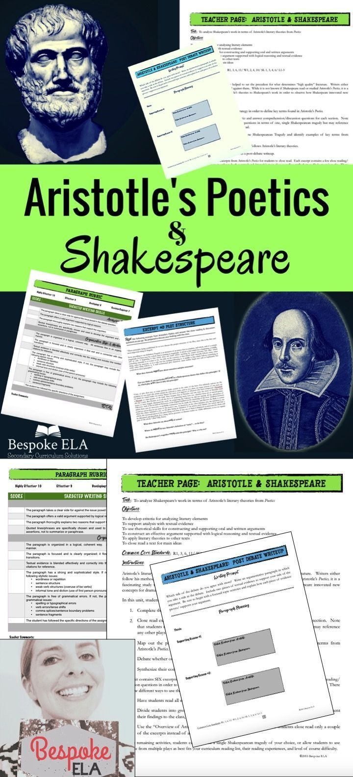This lesson from Bespoke ELA takes students through a close reading of excerpts from Aristotle's Poetics and then has them apply Aristotle's literary theories to Shakespeare's tragedies. This is an excellent addition to any Shakespearean unit-- Macbeth,