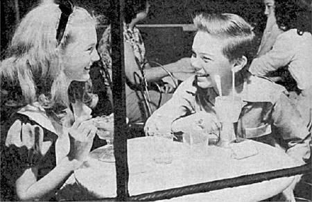 Bobby Driscoll (voice of Peter Pan) and Kathryn Beaumont (voice of Wendy and Alice in Wonderland)