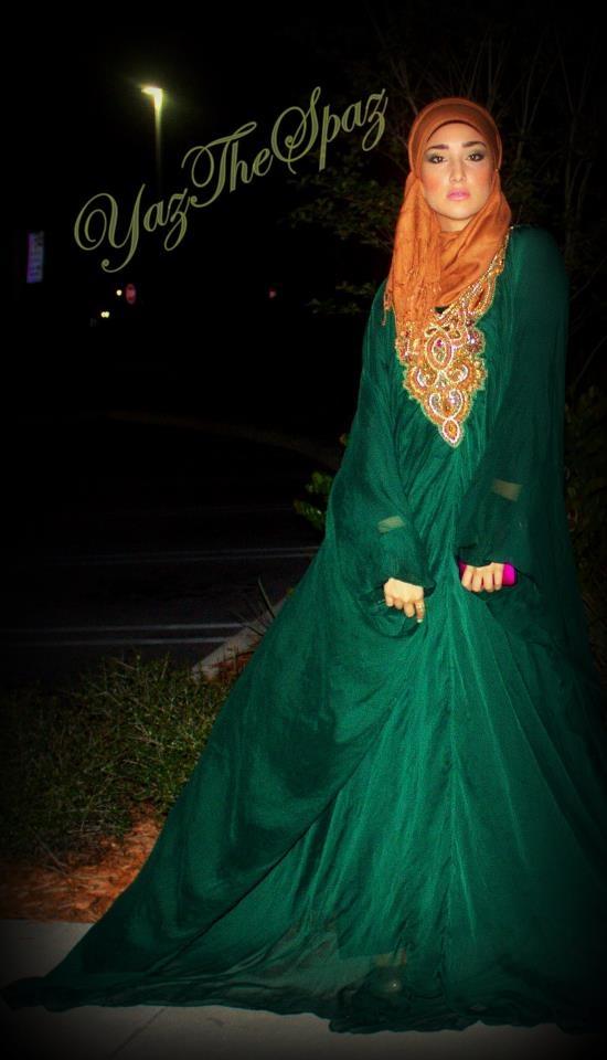 emerald green Abaya