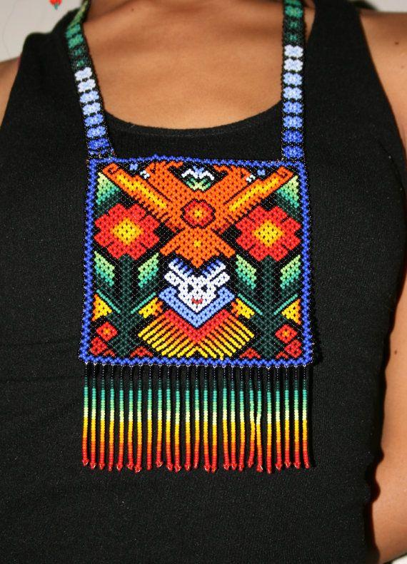 Huichol Tribal Necklace Huichol Shaman от BiuluArtisanBoutique