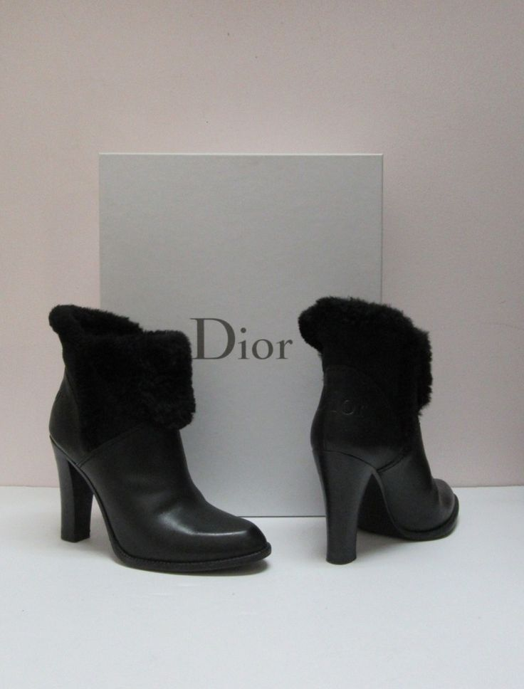 Christian Dior black leather Dior Ice shearling ankle boot, size 7.5.