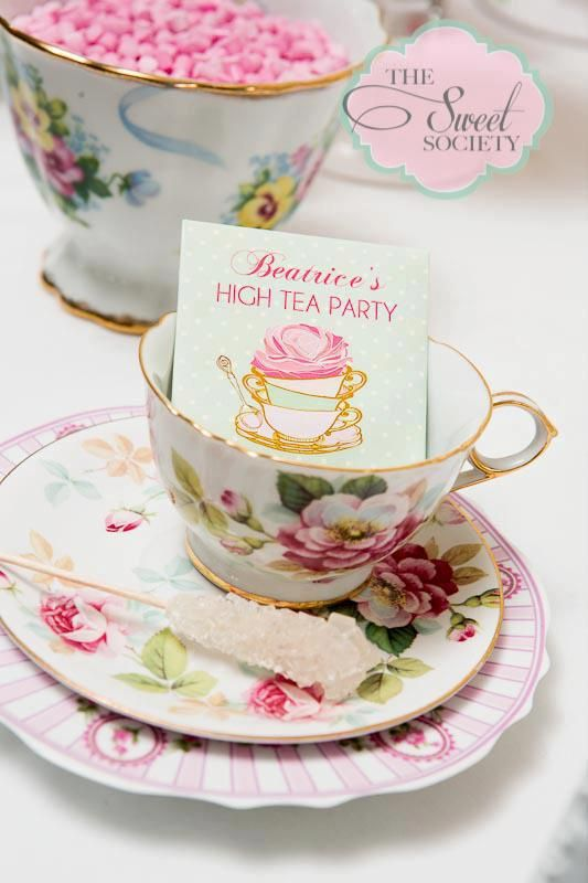 Cute high tea party place cards and love the sugar sticks.