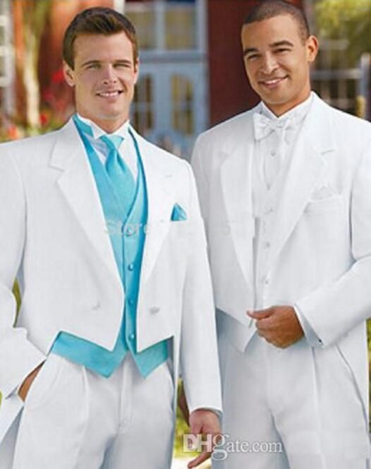 Men's suits are white wedding dresses, tails, men's suits (jackets + trousers + vests)