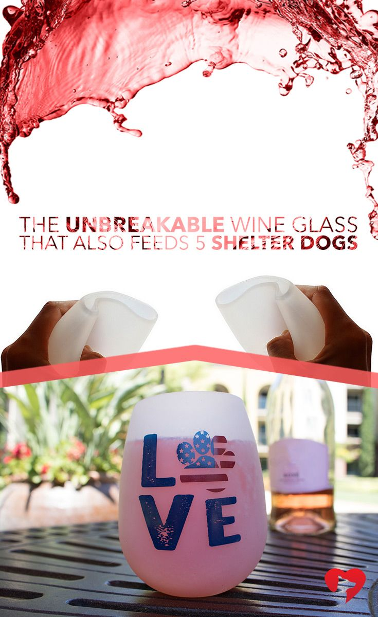 "These durable, food grade silicone glasses fold down to make the ultimate portable wine glass! No more worrying about glass or plastic breaking. In fact, you could even say these glasses are ""dog tail proof"". **Every purchase feeds 5 shelter dogs! Get yours while they last!"