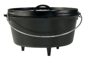 Lodge Dutch Oven, 8 qt, made of preseasoned cast iron which is virtually nonstick and will last for decades. Has a large wire loop handle for easy lifting and carrying, the self-basting cast-iron lid inverts for use as griddle, and has integral legs for campfire and fireplace cooking. Hand wash only, dry, rub with cooking oil. Lifetime warranty.   http://www.amazon.com/gp/product/B00008GKDW/ref=as_li_ss_il?ie=UTF8&camp=1789&creative=390957&creativeASIN=B00008GKDW&linkCode=as2&tag=labevi-20
