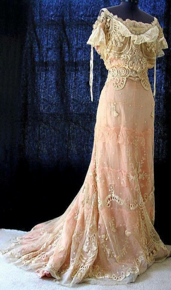 Victorian Tambour Lace Wedding Gown 1890                              …