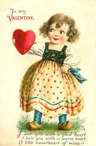 Cute little Dutch girl with clogs, holding a Valentine heart.   For scrapbooking, altered art, gift tags, framing, cards.  Vintage Valentine Postcard by Suzee Que, via Flickr