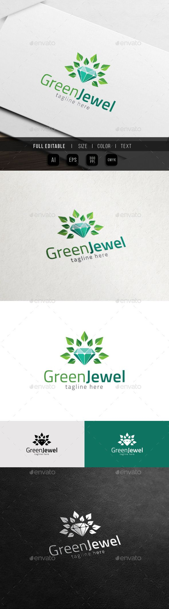 Tj initial luxury ornament monogram logo stock vector - Natural Jewel Green Gem Logo