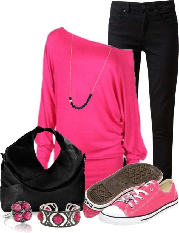 """Untitled #543"" by lisamoran on Polyvore  Pink flats instead of the tenni shoes and this is perfect!"