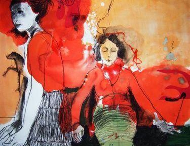 "Saatchi Art Artist Fotini Hamidieli; Drawing, ""together in red"" #art"