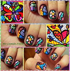 Romero Britto: Nails Art, Britto Nails, Romero Britto Uña, Nails So Colors, Nails Design, Britton Nails So, Glasses Inspiration, Glasses Manicures, Romero Britton