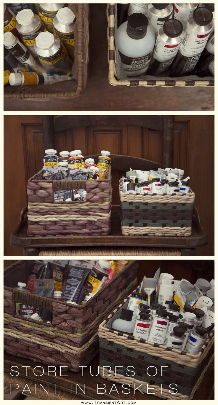 As an artist, I like to store my tubes of oil and acrylic paints in baskets in my art studio. It's easy to find the color I want and I can take the basket with me where I want and store nicely on the shelf.  www.TransientArt.com