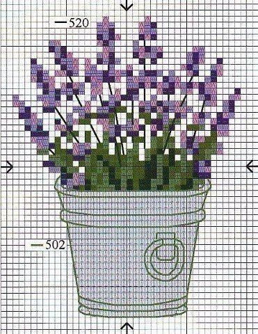 Bordados de flores de lavanda en punto de cruz