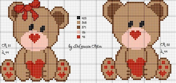 urso apaixonado, coração, love, amor, ponto cruz, ursinhos