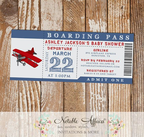 Airplane Ticket Boarding Pass Baby Shower Ticket Invitation - choose your colors if needed - no wording changes or extra info allowed by NotableAffairs
