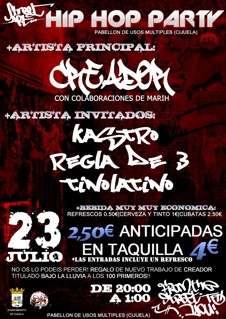 Cartel HIP HOP PARTY Cijuela