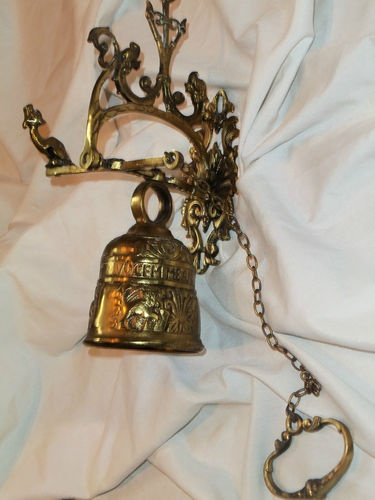 Large Brass Wall Mounted Door Bell With Hand Pull Ebay