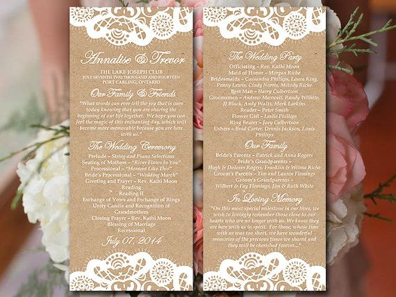 Vintage Lace Wedding Program Template Download | Kraft Ceremony Program | Order of Service Template | Printable Tea Length Wedding Program